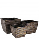 Metal bucket Myro square set of 3, through